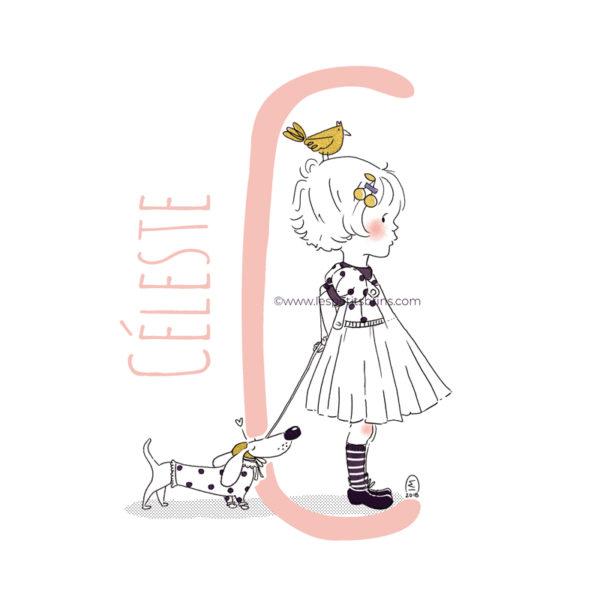 abecedaire-initiale-prenom-enfant-illustration-fille-personnalisable-rose