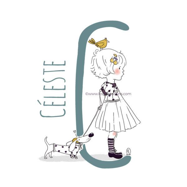 abecedaire-initiale-prenom-enfant-illustration-fille-personnalisation-vert-eucalyptus