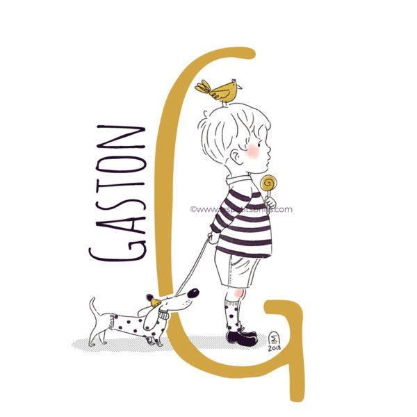 abecedaire-initiale-prenom-enfant-illustration-garcon-personnalisable-moutarde
