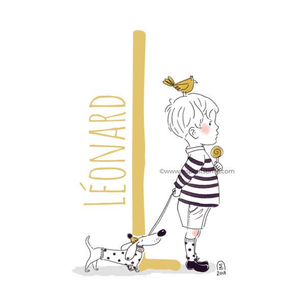 abecedaire-initiale-prenom-enfant-illustration-garcon-personnalisable-moutarde-L