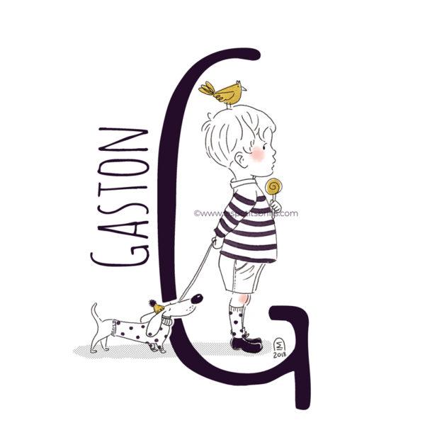 abecedaire-initiale-prenom-enfant-illustration-garcon-personnalisable-noir-or