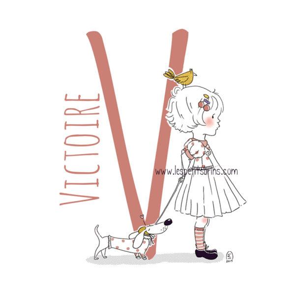 Affiche initiale personnalisable - Petite fille et son teckel