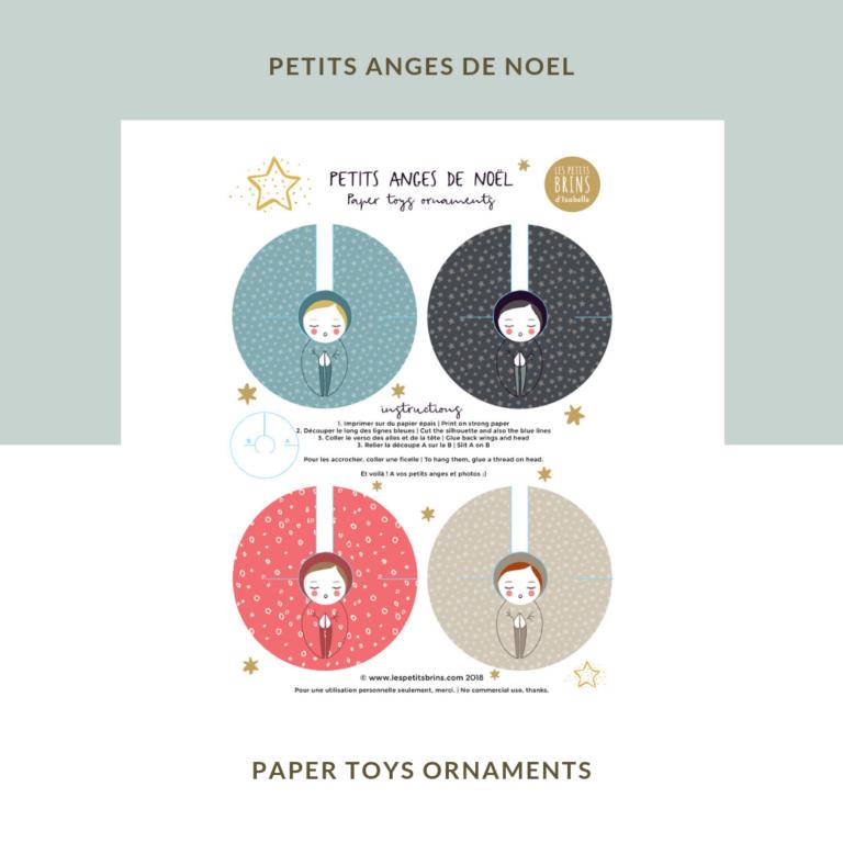 Petits anges de Noël à découper - Paper toys ornaments - deco craft