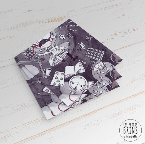 Carte postale illustration Alice au pays des merveilles - Alice in Wonderland