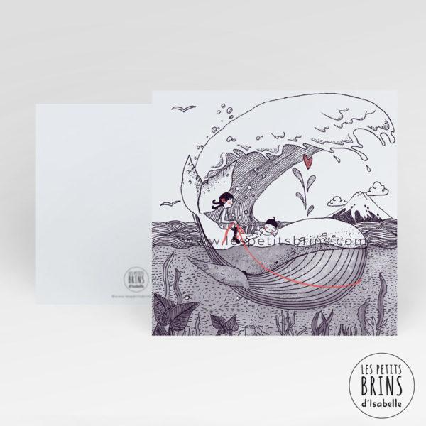 Carte postale illustration baleine whale - D'après la Vague Kanawaga d'Hokusai