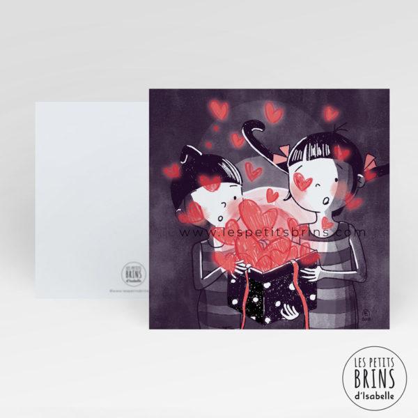 Carte postale illustration originale amour love coeurs boite cadeau