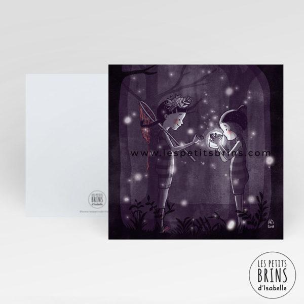 """Carte postale originale """"Les enfants et les lucioles"""" - Forêt"""