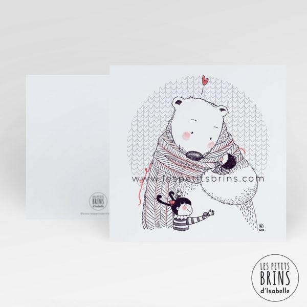 Carte postale voeux de typ scandinave - Ours polaire naissance bébé