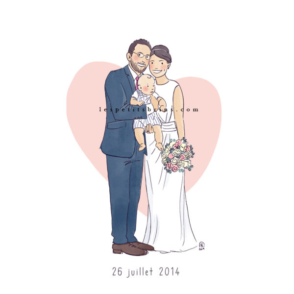 Faire-part de mariage illustré - illustration portrait de couple