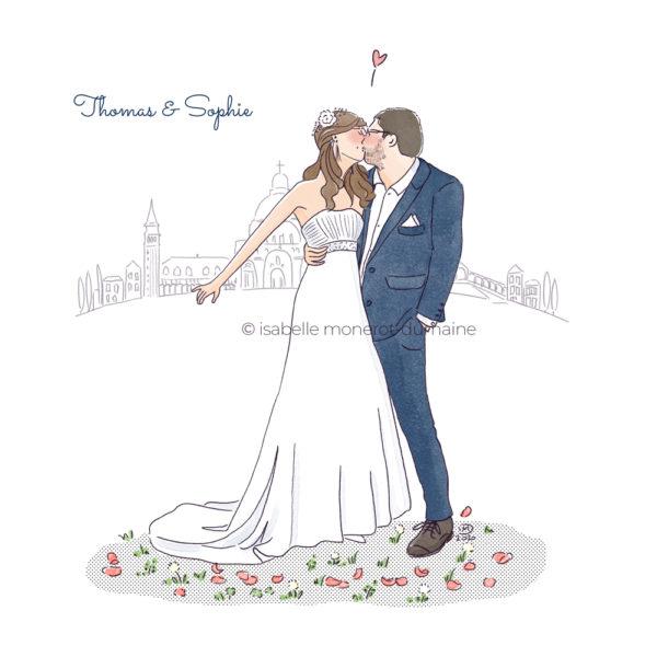 Faire-part de mariage illustré, original et élégant. Illustration sur mesure.