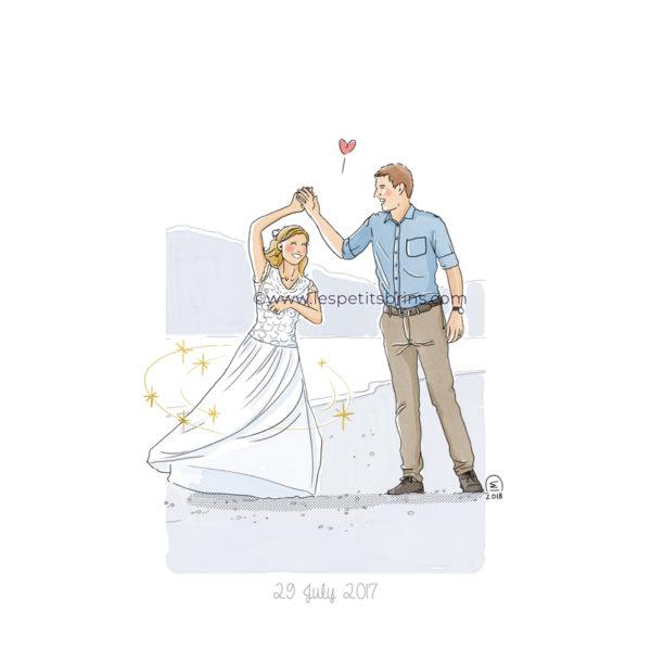 Illustration faire-part de mariage illustré, original et sur-mesure