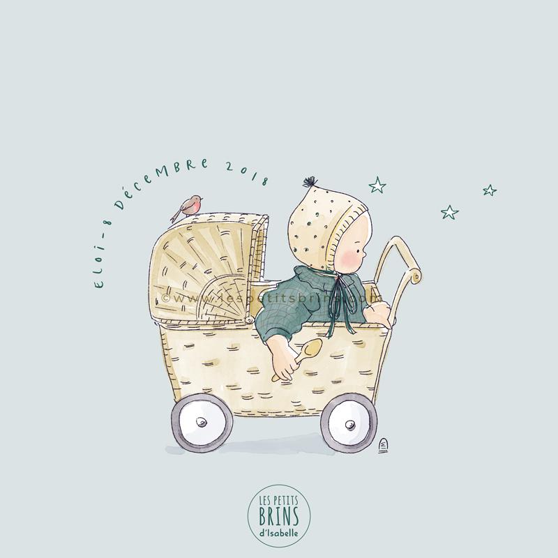 Faire-part de naissance créatif et illustré : vintage, rétro, poussette en rotin, petit béguin et rouge-gorge