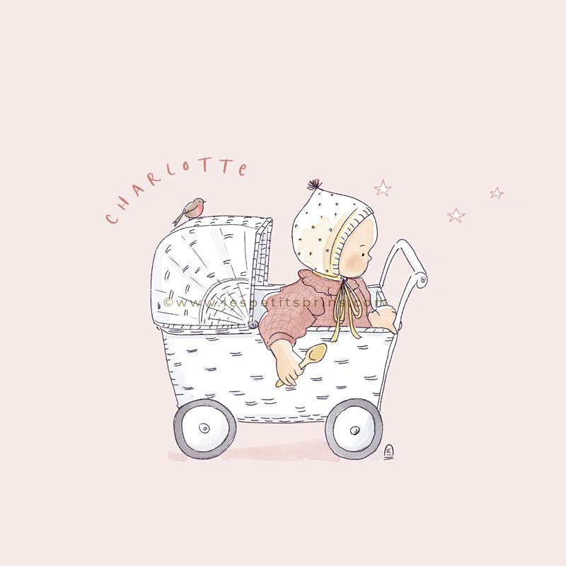 Faire-part de naissance rétro bébé béguin dans pousette en rotin. Vintage original