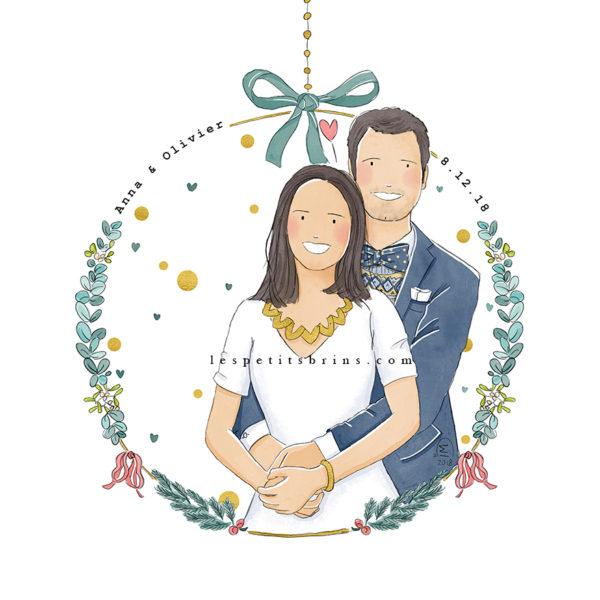 Illustration originale portrait de couple pour faire-mart mariage illustré