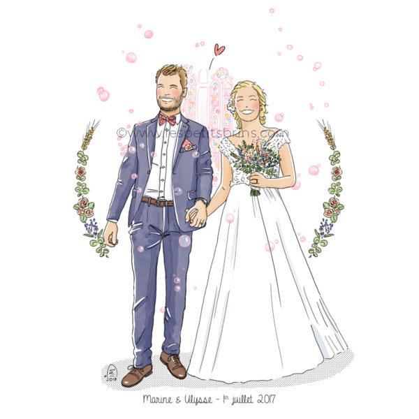 Portrait mariage faire-part illustration