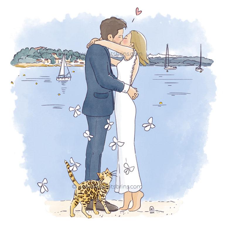 Faire part de mariage illustré - Portrait