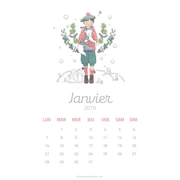 Calendrier illustré - Janvier 2019