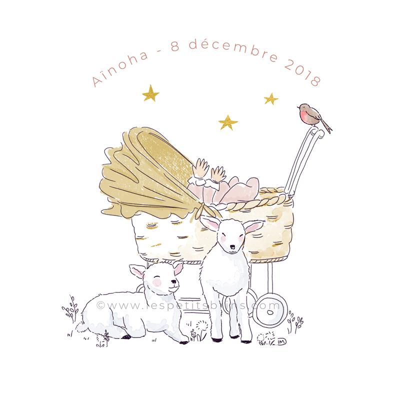 Faire-part de naissance illustré - Illustration moutons, berceau personnalible