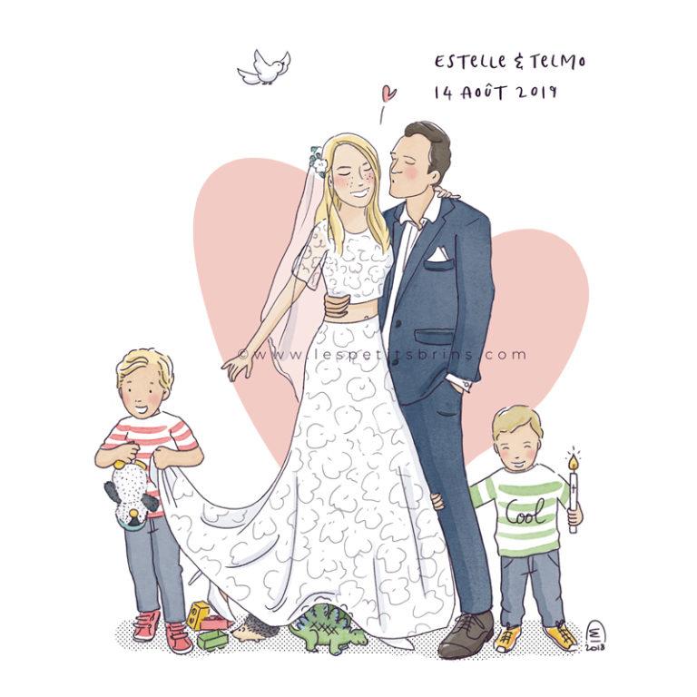 Faire-part de mariage illustré illustration personnalisée