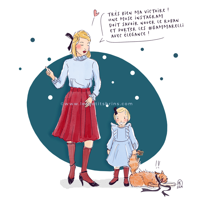 Illustration originale humour maman fillette chat chaussettes