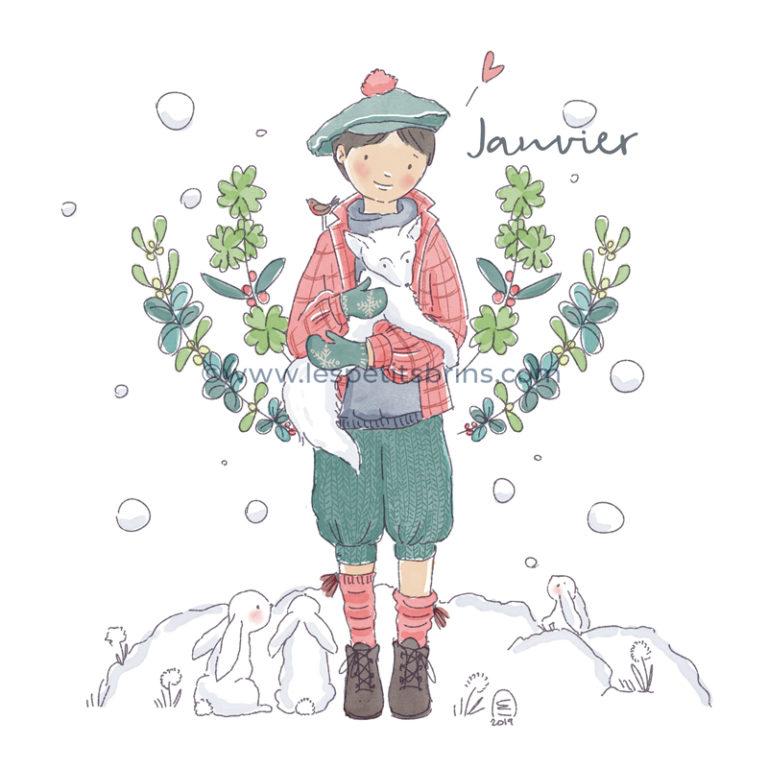 Illustration jeunesse Calendrier Janvier rétro vintage