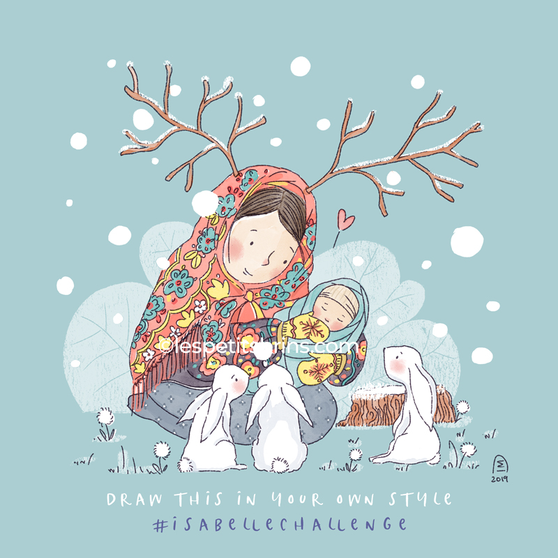 Illustration originale Maman hiver lapins