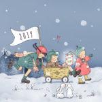 Illustration jeunesse vintage rétro bonne année 2019 - Happy new year !