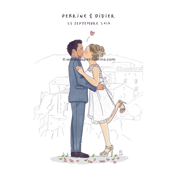 Illustration originale portrait mariage illustré