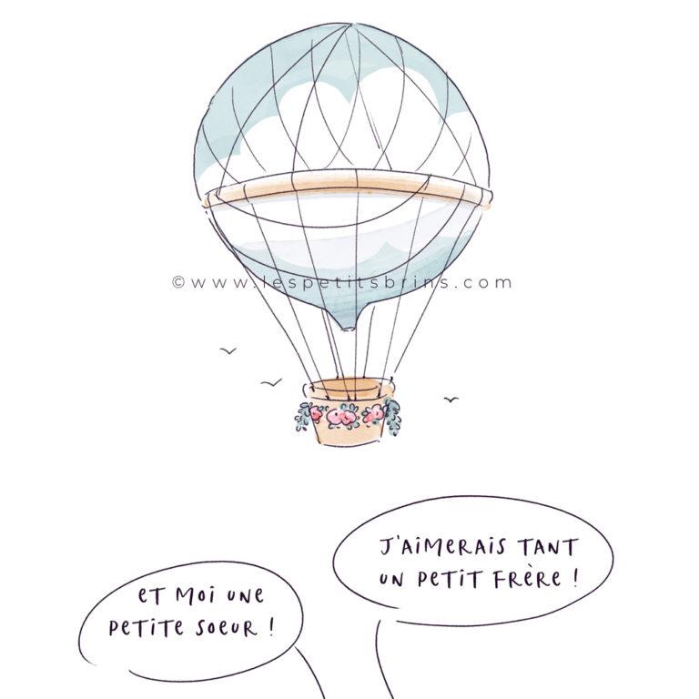 Faire-part de naissance illustré personnalisé - Montgolfière - Illustratrice