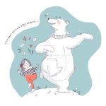 Illustration jeunesse il en faut peu pour être heureux - Ours polaire