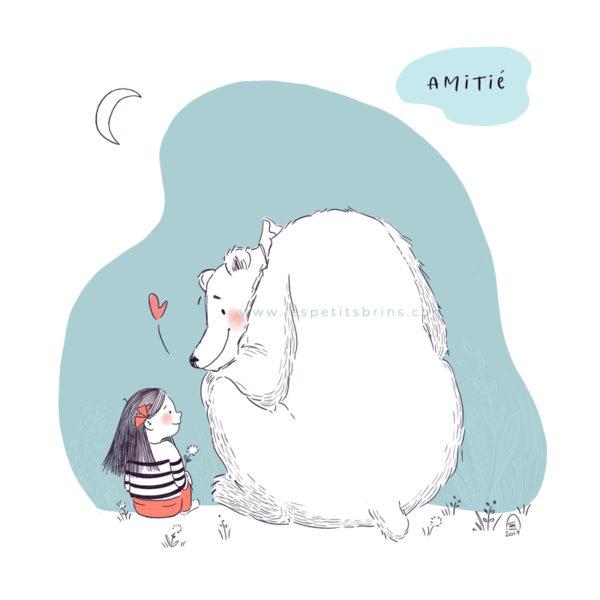Illustration jeunesse - Ours polaire - Amitié