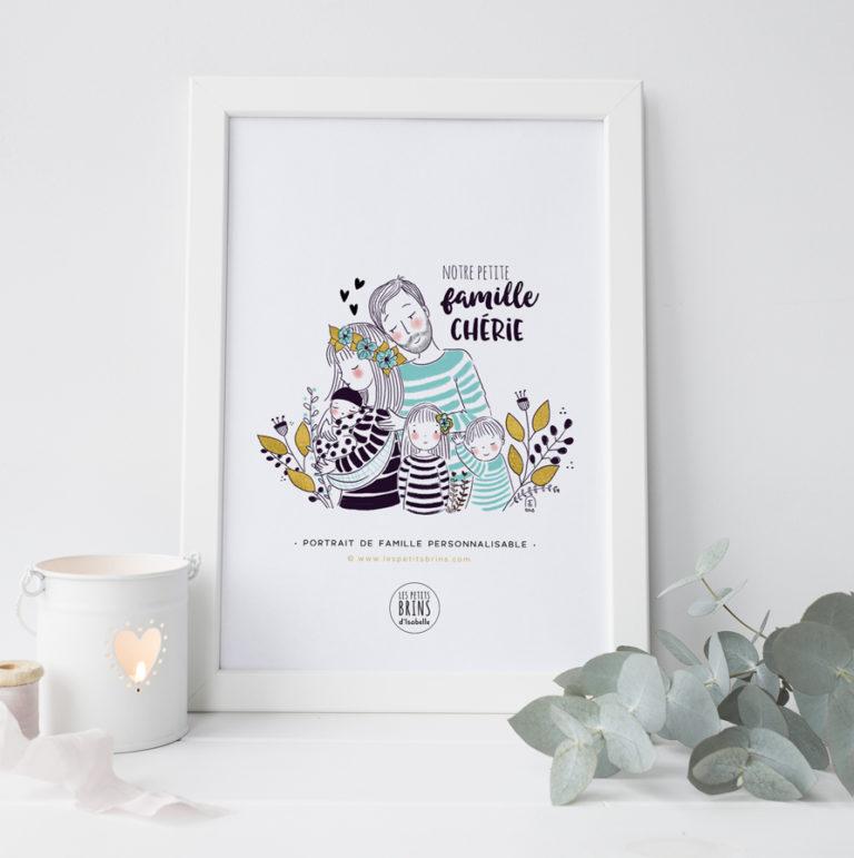 Portrait de famille personnalisable - Petits Brins marinières