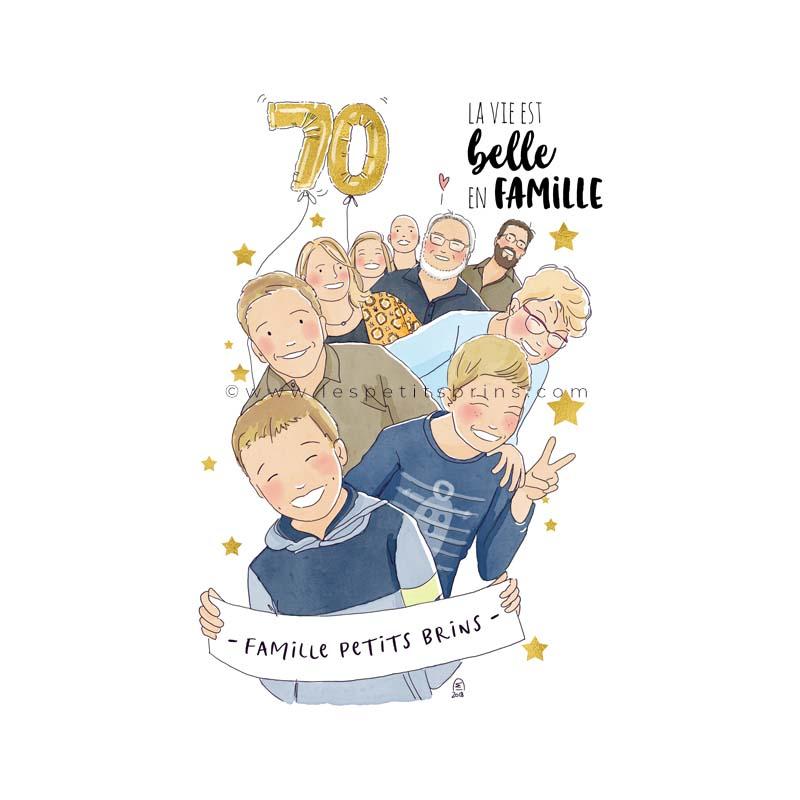 Portrait de famille illustré pour un cadeau d'anniversaire - illustration personnalisée