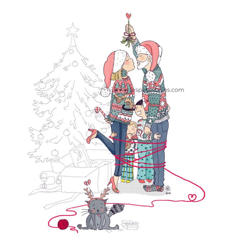 Illustration originale portrait de famille illustré personnalisé