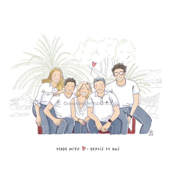 Illustration originale portrait de famille nombreuse et heureuse illustré