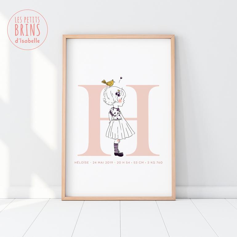 Affiche initiale personnalisable pour une naissance - modèle fille
