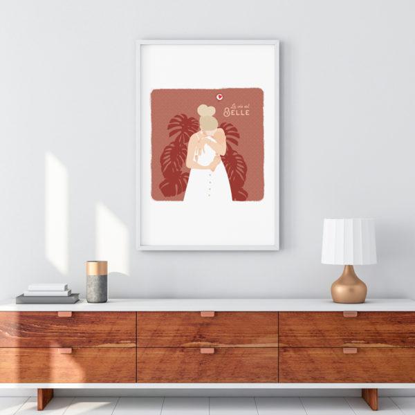 Affiche Maman bébé câlin, maman chérie et monstera. Décoration.