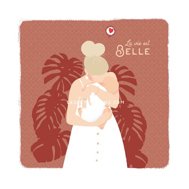 Affiche illustration originale maman chérie bébé câlin et Monstera