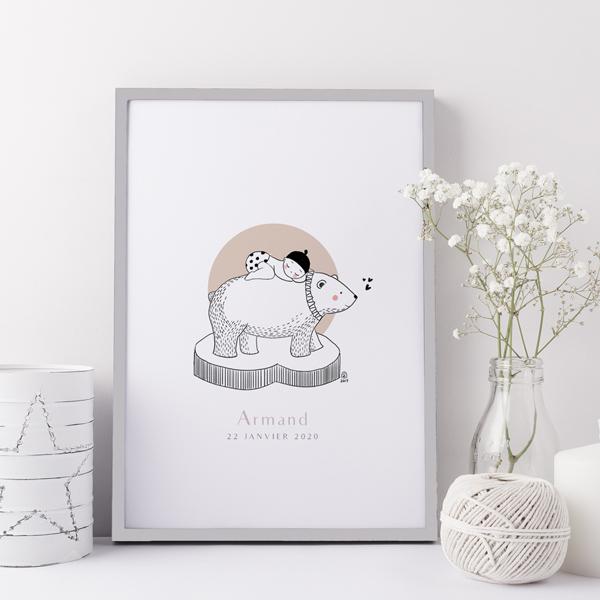 Affiche naissance ours polaire personnalisable - Faire-Part