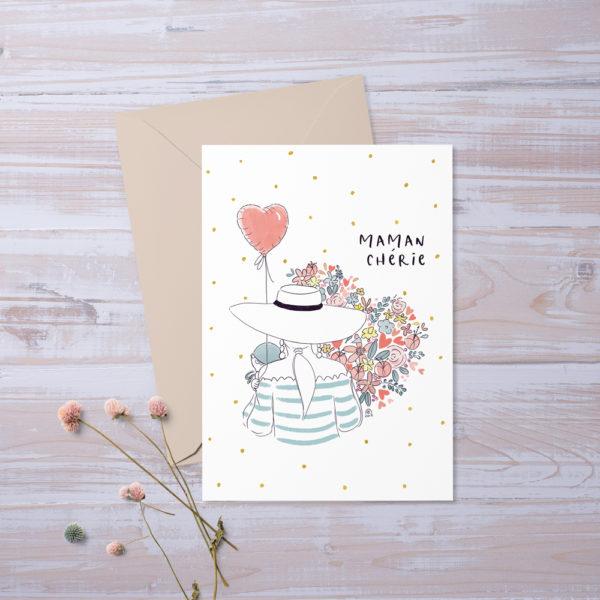 Carte postale Maman chérie - Fête des mères pour Jolie Bibi et son mini