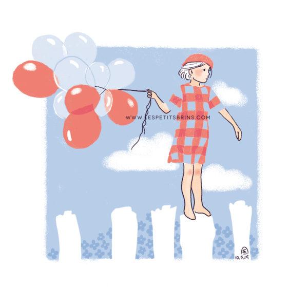 Illustration jeunesse - Envol - Ballons et technique du fadeawaya