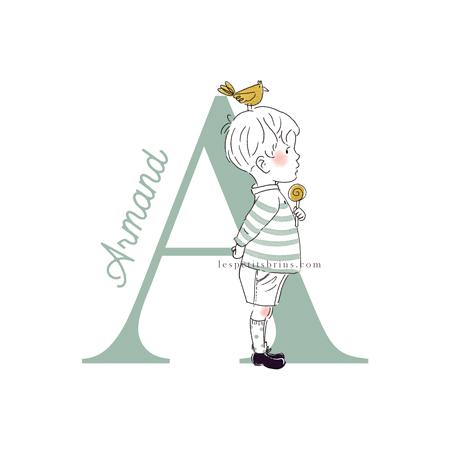 Affiche initiale personnalisable A prénom - Petit garçon