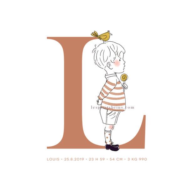 Affiche initiale L personnalisable caramel - Petit garçon