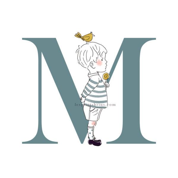 Affiche initiale M personnalisable vert eucalyptus - Petit garçon
