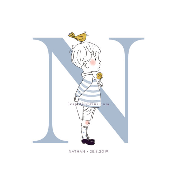 Affiche initiale N personnalisable bleu glacier - Petit garçon