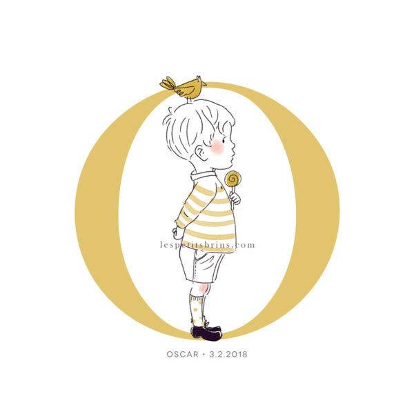 Affiche initiale O personnalisable jaune moutarde - Petit garçon