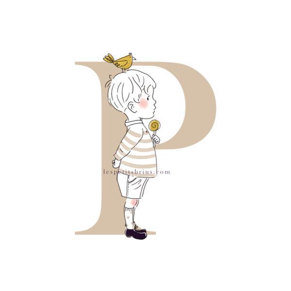 Affiche initiale P personnalisable ficelle - Petit garçon
