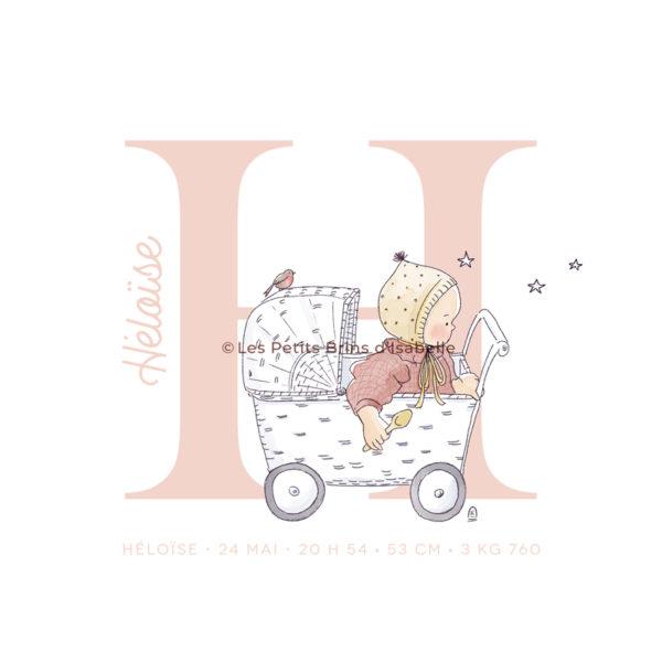 Affiche personnalisée bébé initiale prénom naissance - Chambre et déco