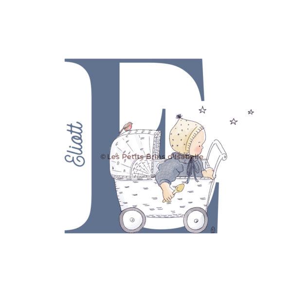Affiche personnalisée bébé naissance couffin rétro