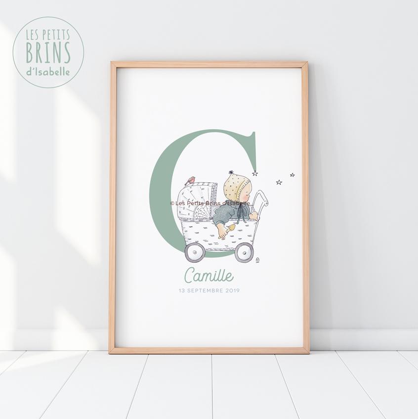 Affiche personnalisée bébé naissance rétro
